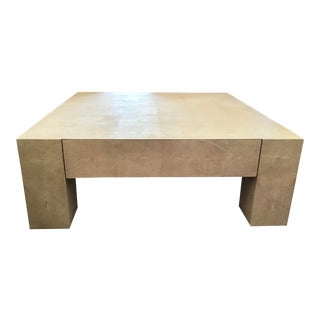 Modern Large Shagreen Parsons Style Coffee Table For Sale