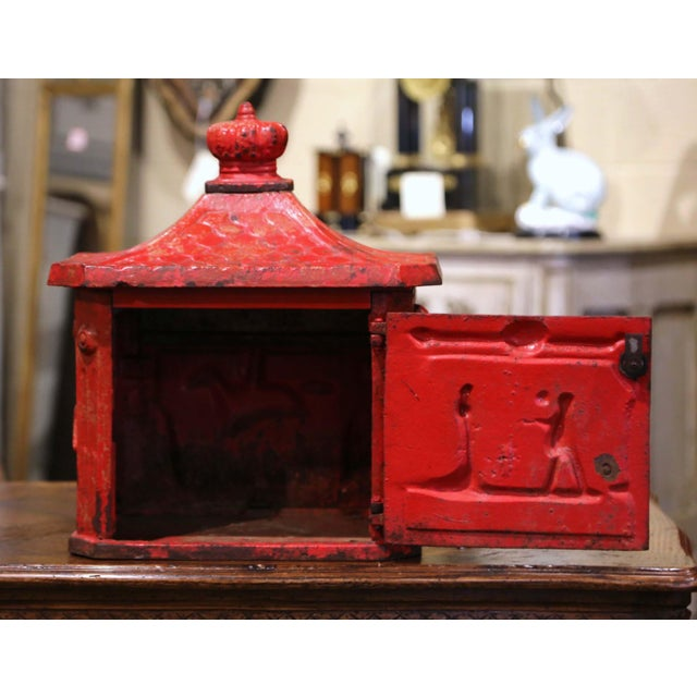 Red 19th Century English Red Painted Cast Iron Mailbox With Relief Decor For Sale - Image 8 of 10