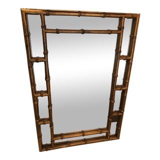 1970s Chinoiserie Faux Bamboo Wall Mirror For Sale