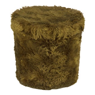1970s Vintage French Green Pouf Vanity Stool For Sale