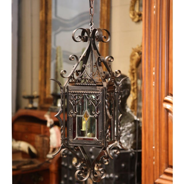 19th Century French Napoleon III Black Iron Lantern With Stained Glass Panels For Sale - Image 4 of 9