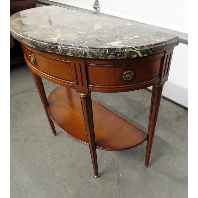 Metal Directoire Style Marble Top Demi-Lune Console Table For Sale - Image 7 of 9