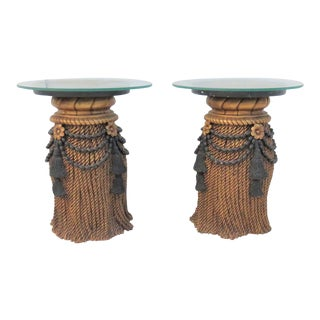 Hollywood Regency Tassle Form Side Tables - A Pair
