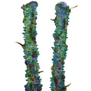 """Katie Degroot """"Double Green"""" Watercolor Painting on Paper, 2016 For Sale"""