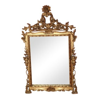 1940s Carved Italian Gilded Wall / Mantle Mirror For Sale