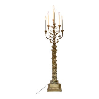 Italian Gilt Wood Six Arm Torchiere Candelabra Floor Lamp For Sale