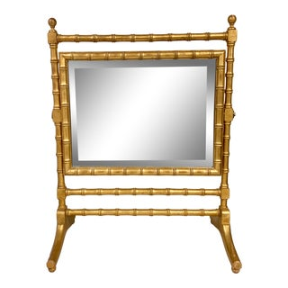 French Giltwood Faux Bamboo Table Vanity Mirror For Sale