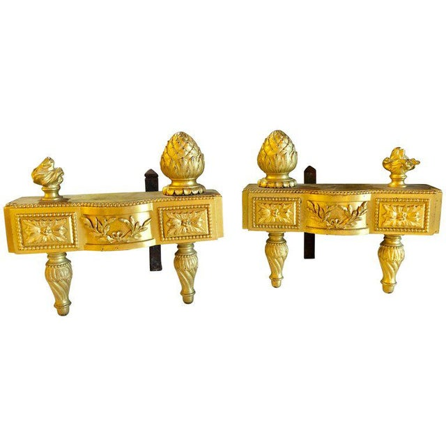 19th Century Fine Pair of Bronze Dore Louis XVI Style Andirons For Sale - Image 11 of 11