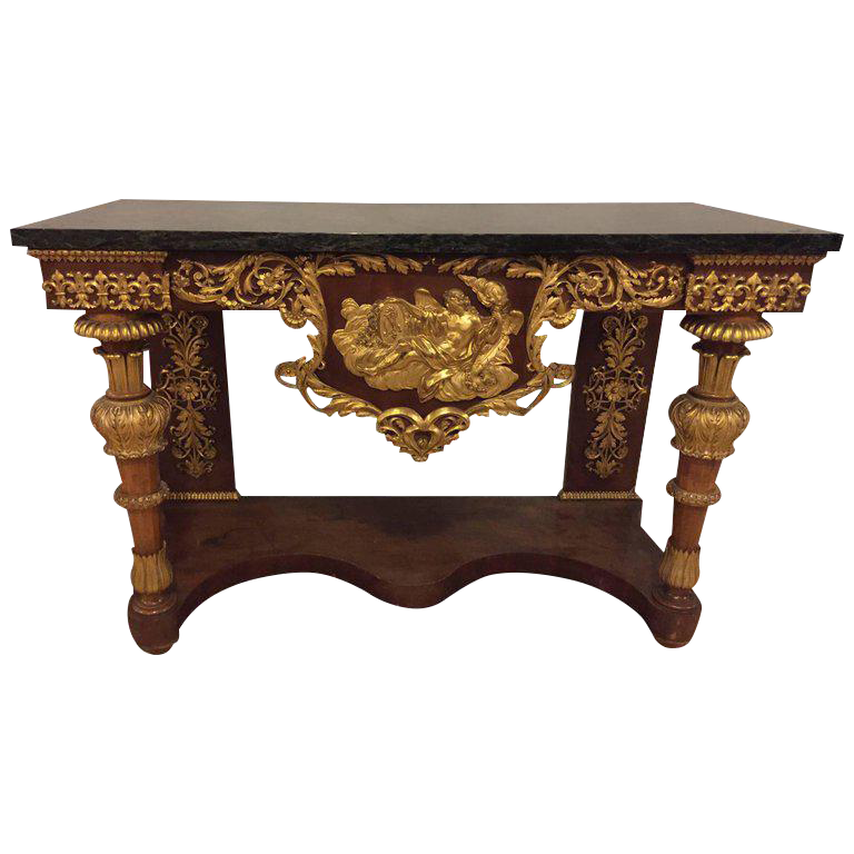 19th Century Empire Marble Top Console Table With Greek God Design Front  For Sale