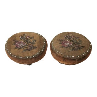 Pair of Antique English Beaded Footstools For Sale