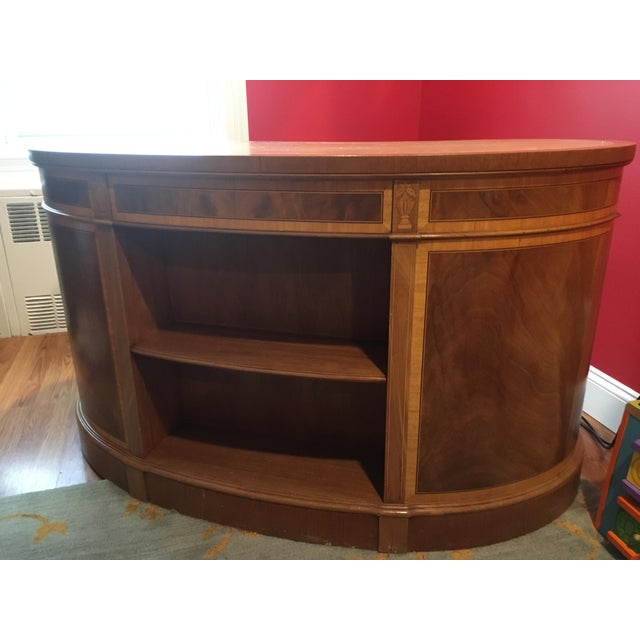 Leather top kidney desk, bookcase shelves, inlaid mahogany. General wear and tear, plus a few wood patches that need...