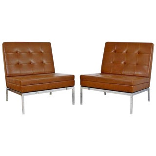 Mid Century Modern Pair Vintage Knoll Chrome Leather Slipper Chairs Model #65 For Sale