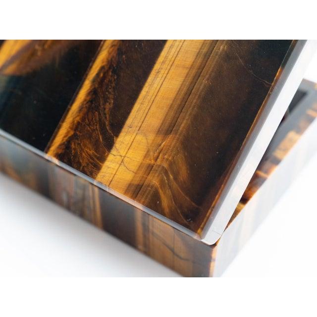 Tiger's Eye Semi-Precious Stone Box For Sale In New York - Image 6 of 8