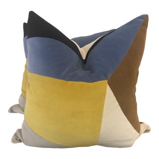 "Collaged Velvet in Blue/Yellow 22"" Pillows-A Pair For Sale"