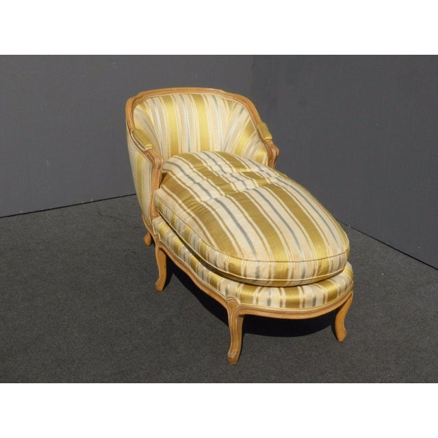 Vintage Baker French Provincial Gold Chaise Lounge Goose Down Cushion For Sale - Image 4 of 11