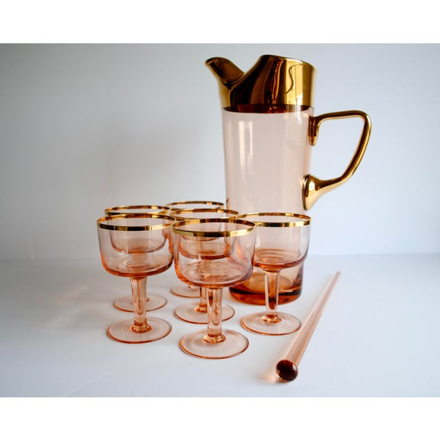 Mid-Century Pink & Gold Cocktail Glasses - Set of 8 - Image 4 of 7