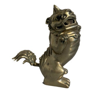 Chinese Brass Foo Dog Incense Burner, Qing Dynasty, Late 19th Century For Sale