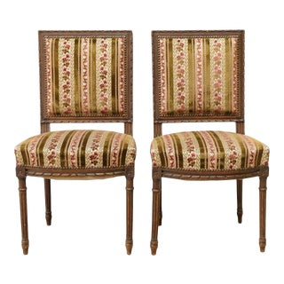19th Century Antique Louis XVI Style Salon Side Chairs - a Pair For Sale