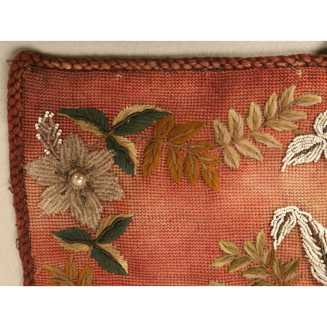 Fabric Original Antique Hand-Beaded Fireplace Screen For Sale - Image 7 of 10