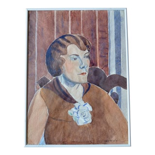 Watercolor Portrait of a Woman, 1920s For Sale