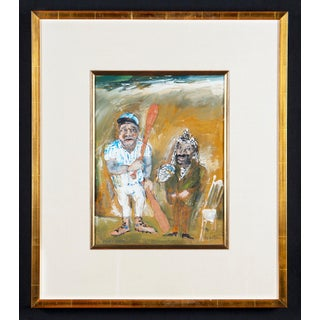 """""""Play Ball"""" Gouache Painting on Paper by James Martin Circa 1995 For Sale"""