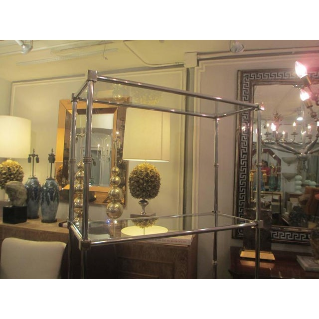 Silver Pair of Chrome Etageres/Bookcases With Glass Shelves For Sale - Image 8 of 9