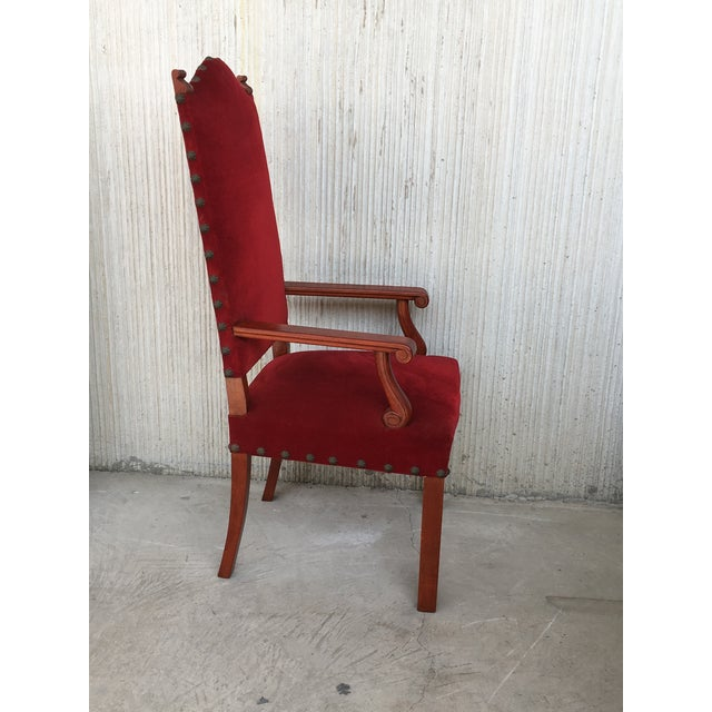 Baroque 19th Century Spanish Revival High Back Armchair With Red Velvet Upholstery For Sale - Image 3 of 13