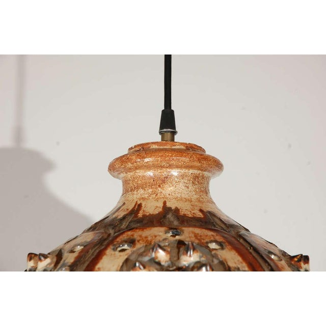 1960s Signed Jette Helleroe Art Pottery Light Fixture For Sale - Image 5 of 8
