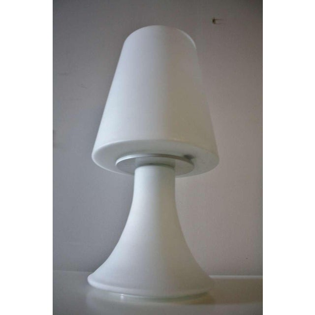 Pair of Italian White Glass Lamps and Shades by Laurel For Sale In Chicago - Image 6 of 7