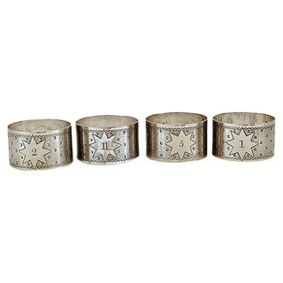 Antique English Officer's Numbered Napkin Rings For Sale