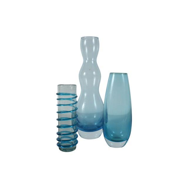 Handblown Blue Art Glass - Set of 3 - Image 1 of 3