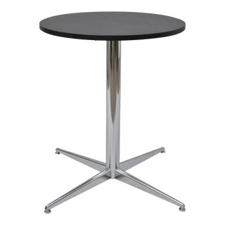 Vintage Mid-Century Modern Chrome Round Pedestal Base Star Dining Table For Sale