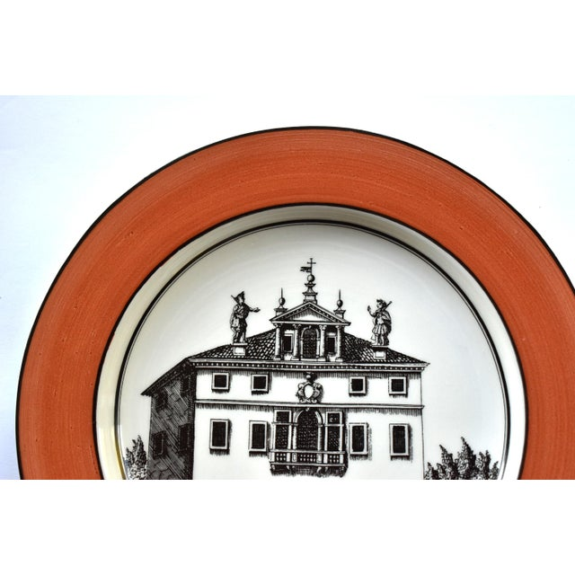 Orange Vintage Italian Mottahedeh Creil Creamware Neoclassical Palazzo Architecture Small Plates With Coral Border - Set of 4 For Sale - Image 8 of 11
