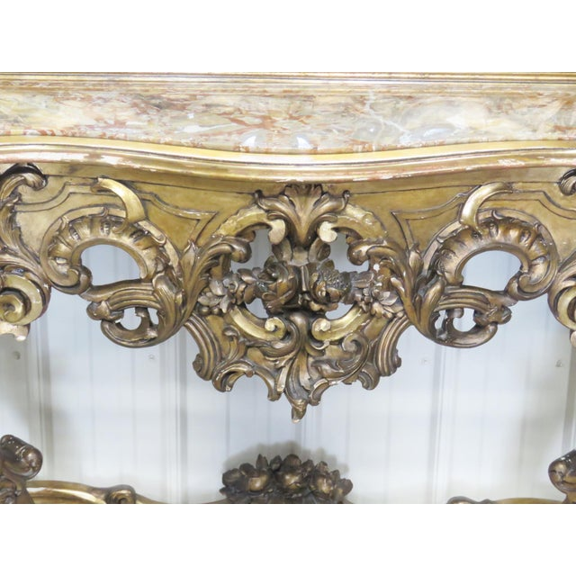 Italian Italian Style Figural Gilt Carved & Marble Console &Mirror For Sale - Image 3 of 10