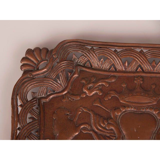 Belle Epoque Antique French Copper Tray with Heraldic Lions circa 1890 For Sale - Image 3 of 8