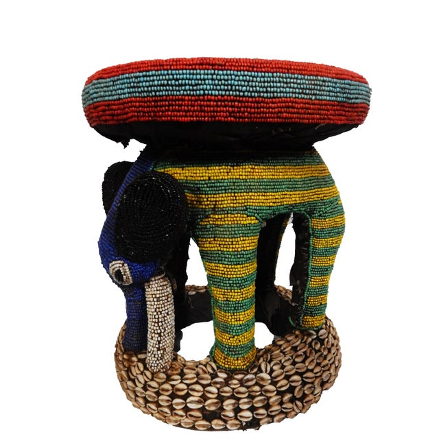 African Beaded Bamileke Elephant Stool - Image 5 of 10