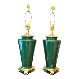 Vintage Chinoiserie Green and Gold Lamps With Scallop Shell Finials - a Pair For Sale