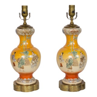 Early 20th Century Orange Satsuma Lamps - a Pair For Sale