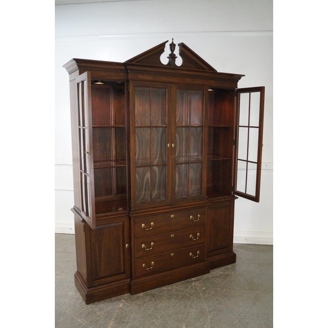 Ethan Allen Georgian Court Solid Cherry Chippendale Style Breakfront - Image 6 of 10