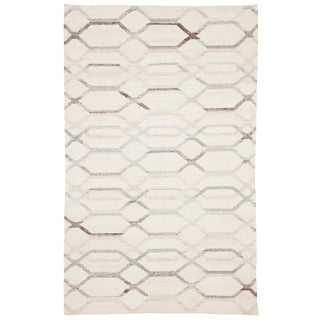 Jaipur Living Laveer Handmade Trellis Ivory/ Light Gray Area Rug - 8′ × 10′ For Sale