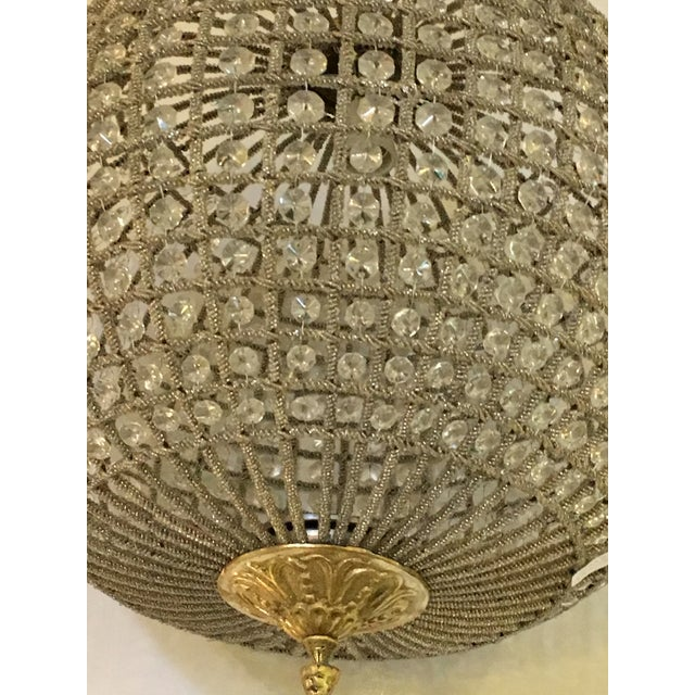 Gold Globe Pendant Chandeliers - A Pair For Sale - Image 8 of 10