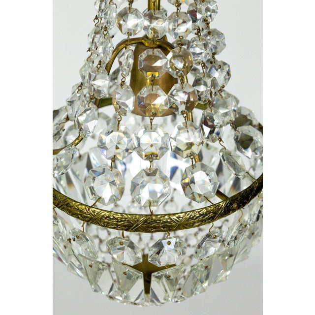 Brass Petite Regency Style Crystal Tent and Bag Chandelier For Sale - Image 7 of 8