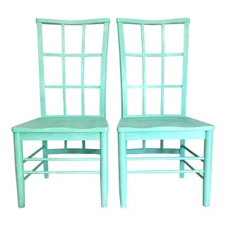Mid-Century Charles Rennie Macintosh Inspired High Back Aqua Dining Chairs - a Pair