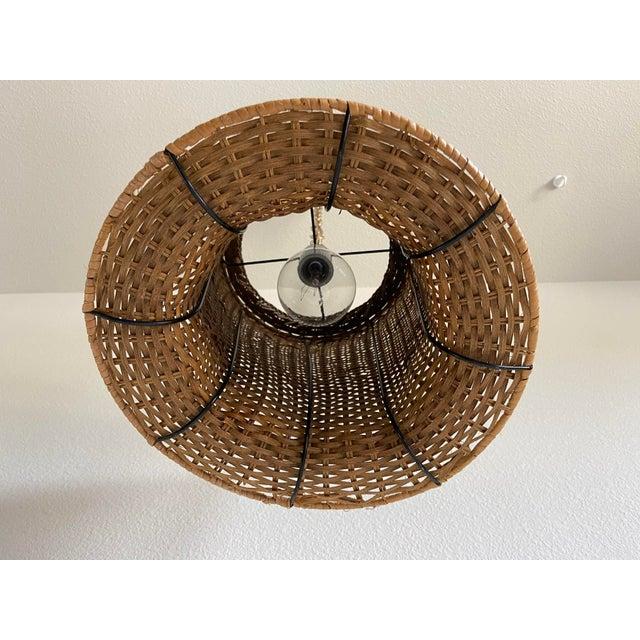 Wicker Wicker Top Hat Pendant Light For Sale - Image 7 of 10