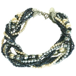 Miriam Haskell Grey and Cream Pearl Bracelet For Sale
