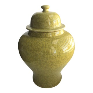 Antique Citrine-Green Urn With Lid For Sale