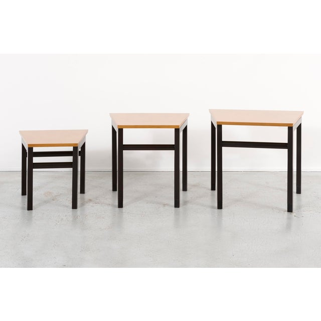 Mid-Century Modern Set of Three Edward Wormley for Dunbar Nesting Tables For Sale - Image 3 of 10
