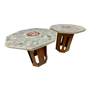 Mid-Century Harvey Probber Terrazzo Top Side Tables - a Pair For Sale