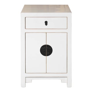 Contemporary White Wooden One Drawer Side Chest