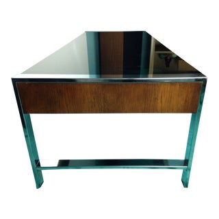 Mid-Century Modern Rosewood and Chrome Glass Coffee Table For Sale